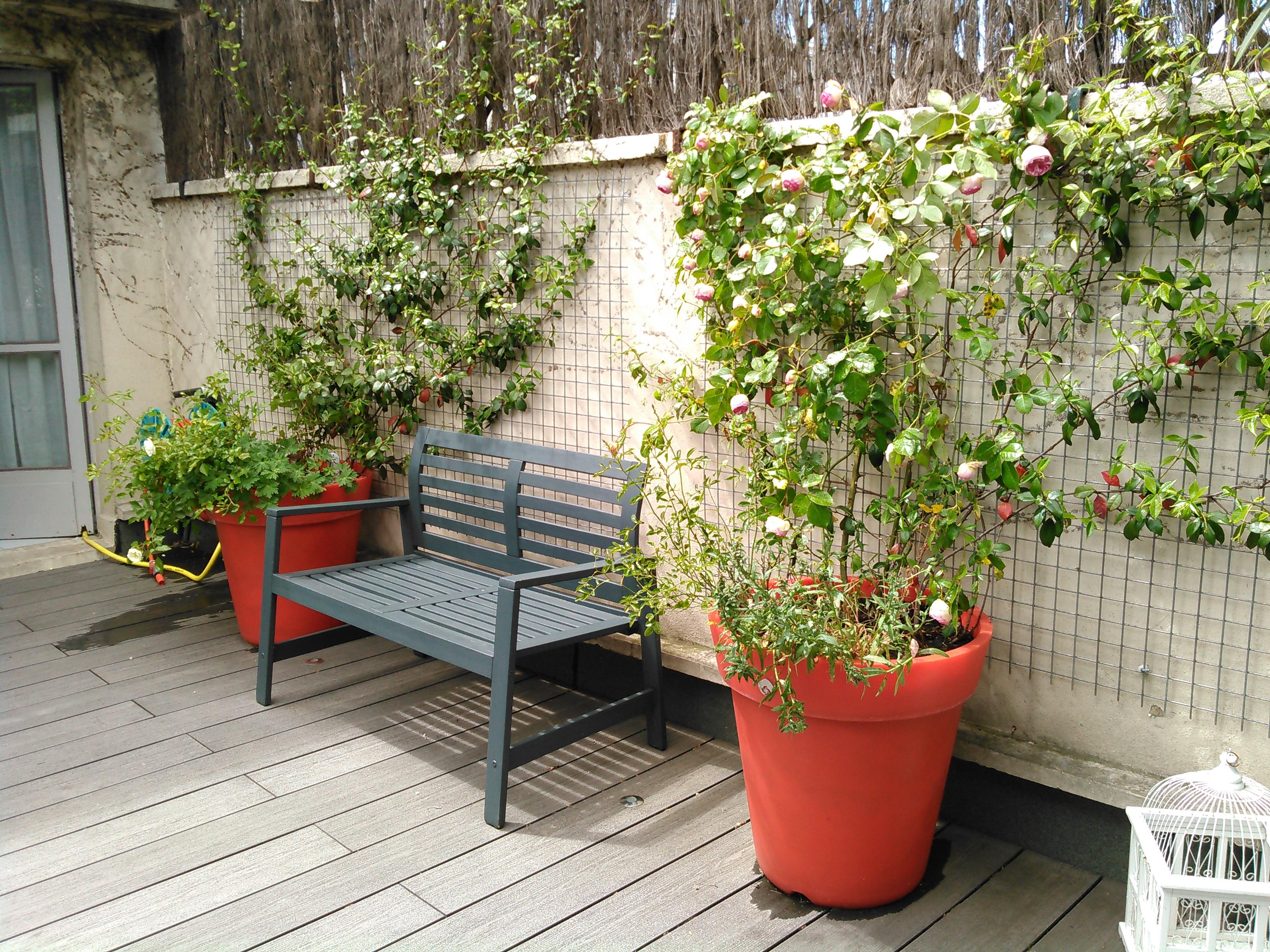 Terrasse Arbuste En Pot Et Banc Les Jardins De Villebois